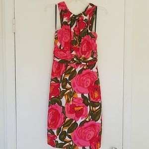 DAVID MEISTER Floral High Neck Cocktail Dress